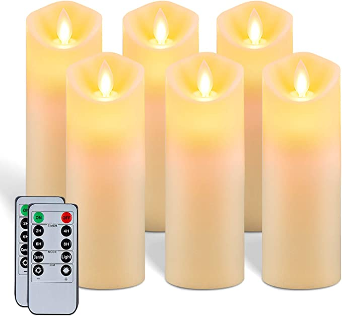 5plots 7 X 2 2 Flickering Flameless Candles Moving Flame Battery Operated Led Pillar Candles With Timers And Remote Control Made Of Wax Like Frosted Plastic Won T Melt Ivory Skinny Set Of 6 Home Improvement Amazon Com