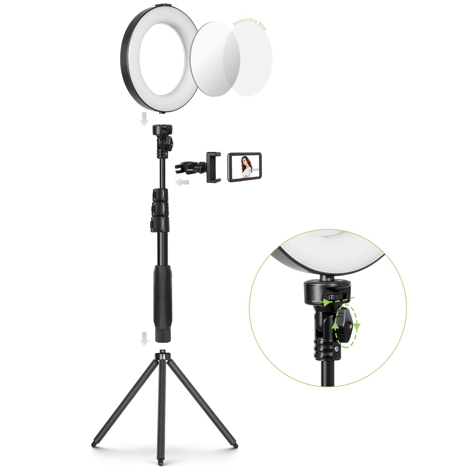 8'' Ring Light with Mirror Tripod Stand & Cell Phone Holder for Live Stream/Makeup, Mini Led Camera Ringlight for YouTube Video/Photography Compatible with iPhone Xs Max XR Android by MACTREM (Image #5)