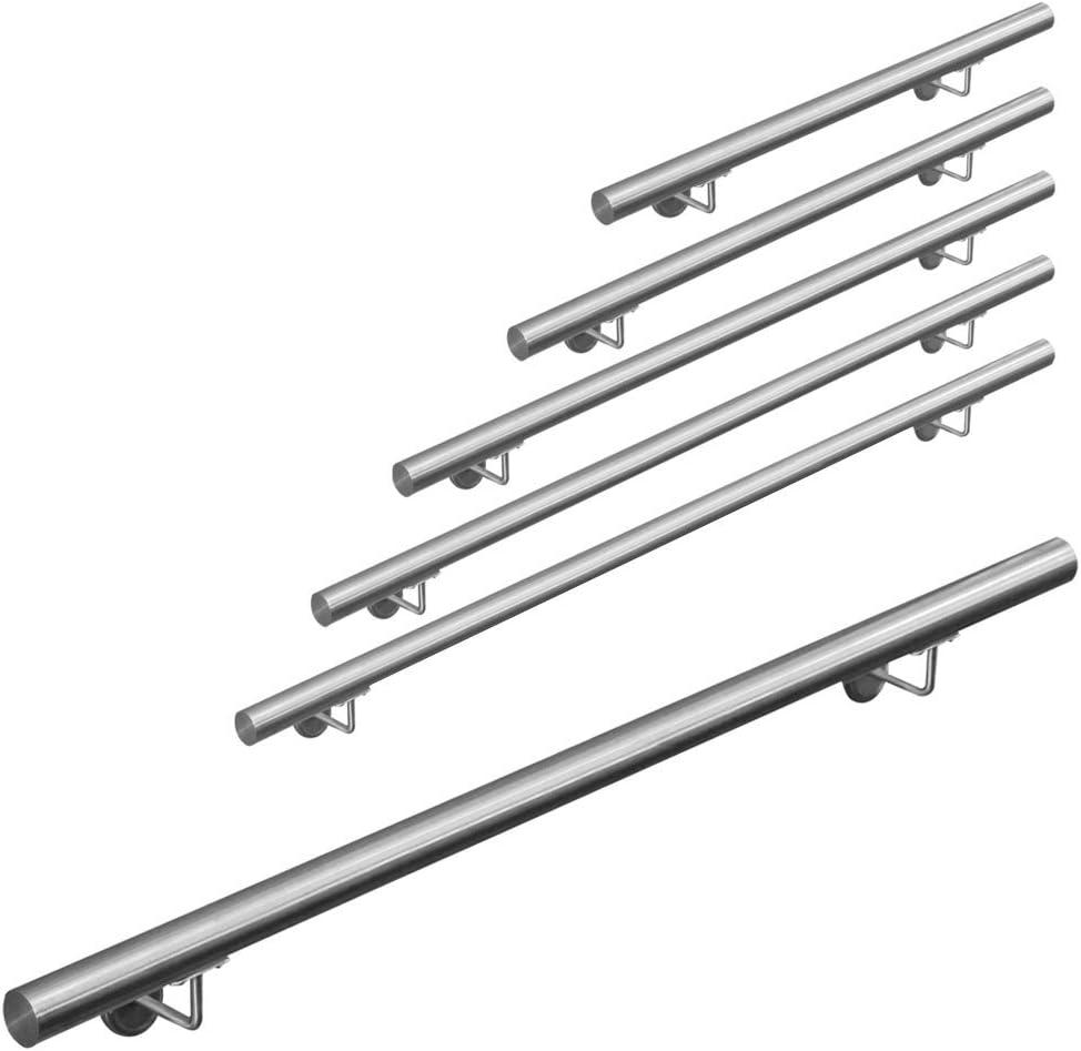 Longueur:190 cm Main courante 304 acier inoxydable rampe escalier barre appui V2Aox 50-200 cm