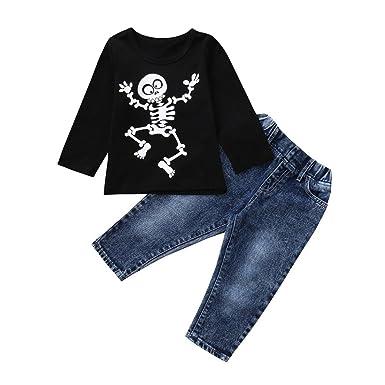 78ee803a96144 QinMM Vêtements Enfants Déguisement Halloween Filles Garçons 2 PCs Ensemble  de T-Shirt Tops à Manches