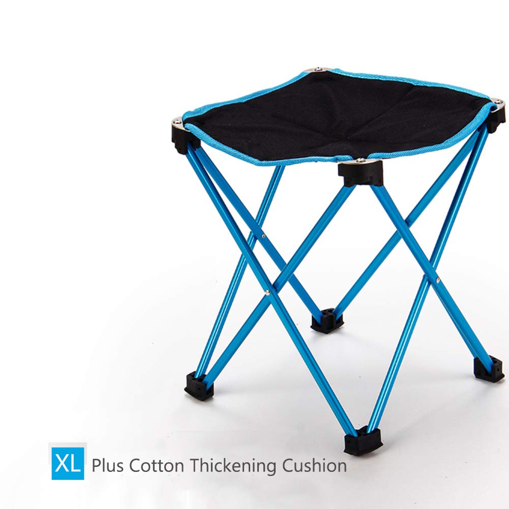 blueee XLarge Portable Folding Stool Table Four Legs NonSlip Collapsible Camping Chair for Hiking, Fishing, Beach, Park with Carry Bagorange XL