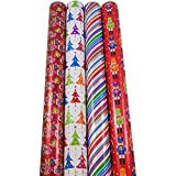 JAM Paper Christmas Design Wrapping Paper - Kooky Color Christmas - 180 sq. ft. - 4/pack
