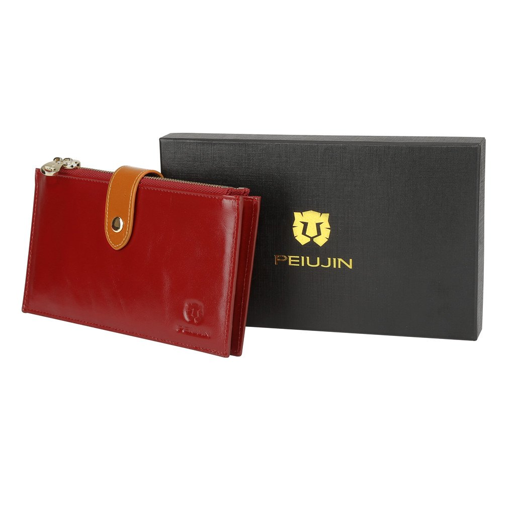 PEIUJIN RFID Blocking Women's Genuine Leather Wallet Card Case Purse with Zipper Pocket (Black)
