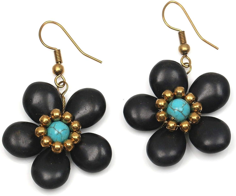 Idin Jewellery - Pendientes de gota con cuentas de color turquesa y flor de piedra negra