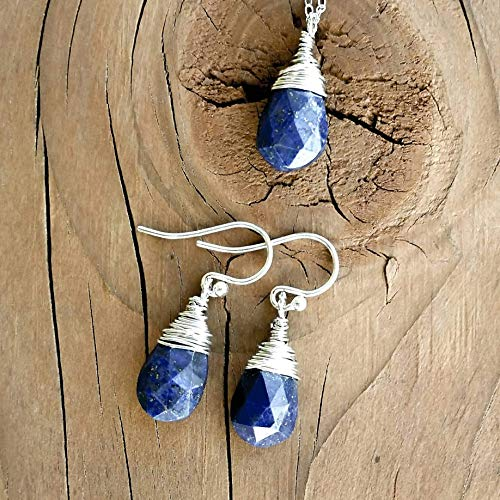 (Dark Blue Sapphire Matching Earrings and Necklace Jewelry Set in Sterling Silver)