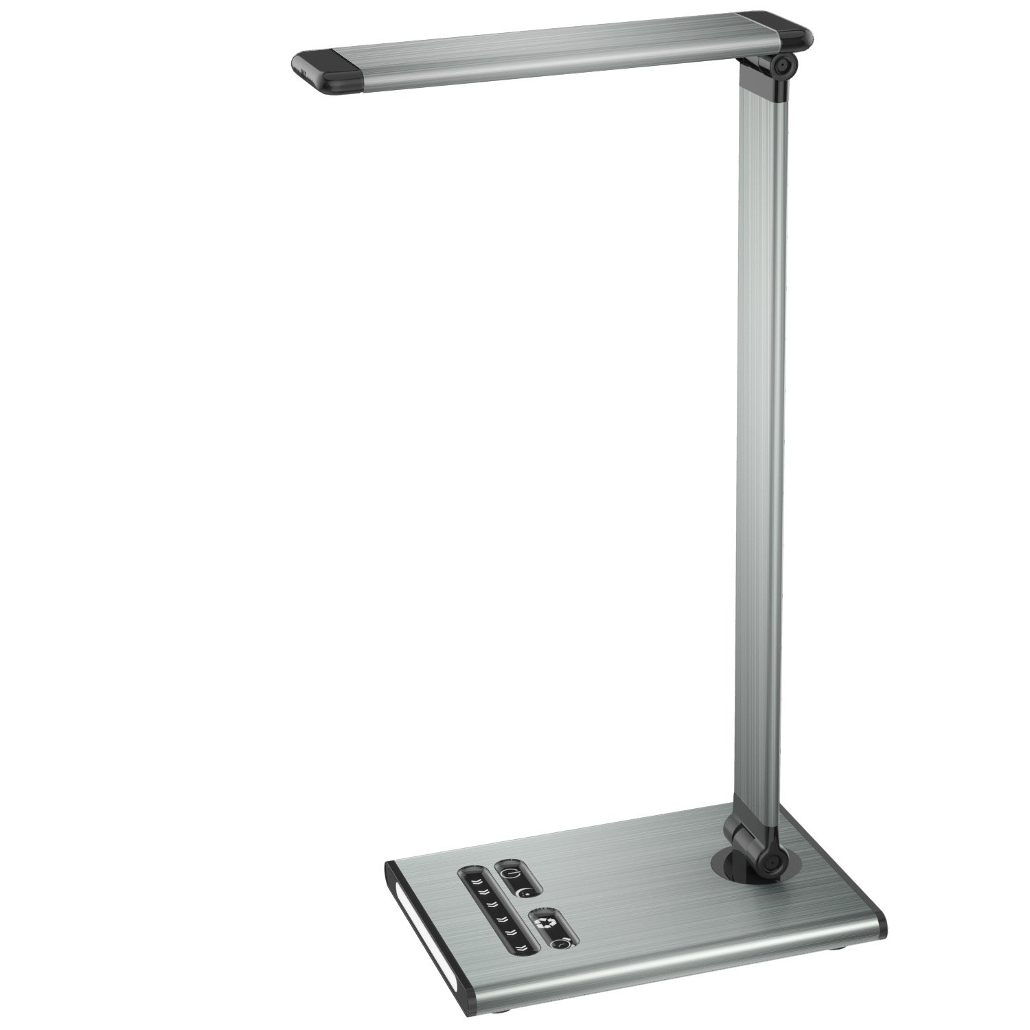 MoKo Dimmable LED Desk Lamp, 10W Touch Control Adjustable Table Lamp, Built-in Nightlight + USB Charging Port, Rugged & Full Aluminum Alloy Body, 6-Level Brightness, 5 Lighting Modes - Space Gray
