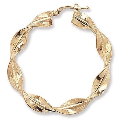 9ct Yellow Gold Twisted Hoop Earrings Amazon Jewellery
