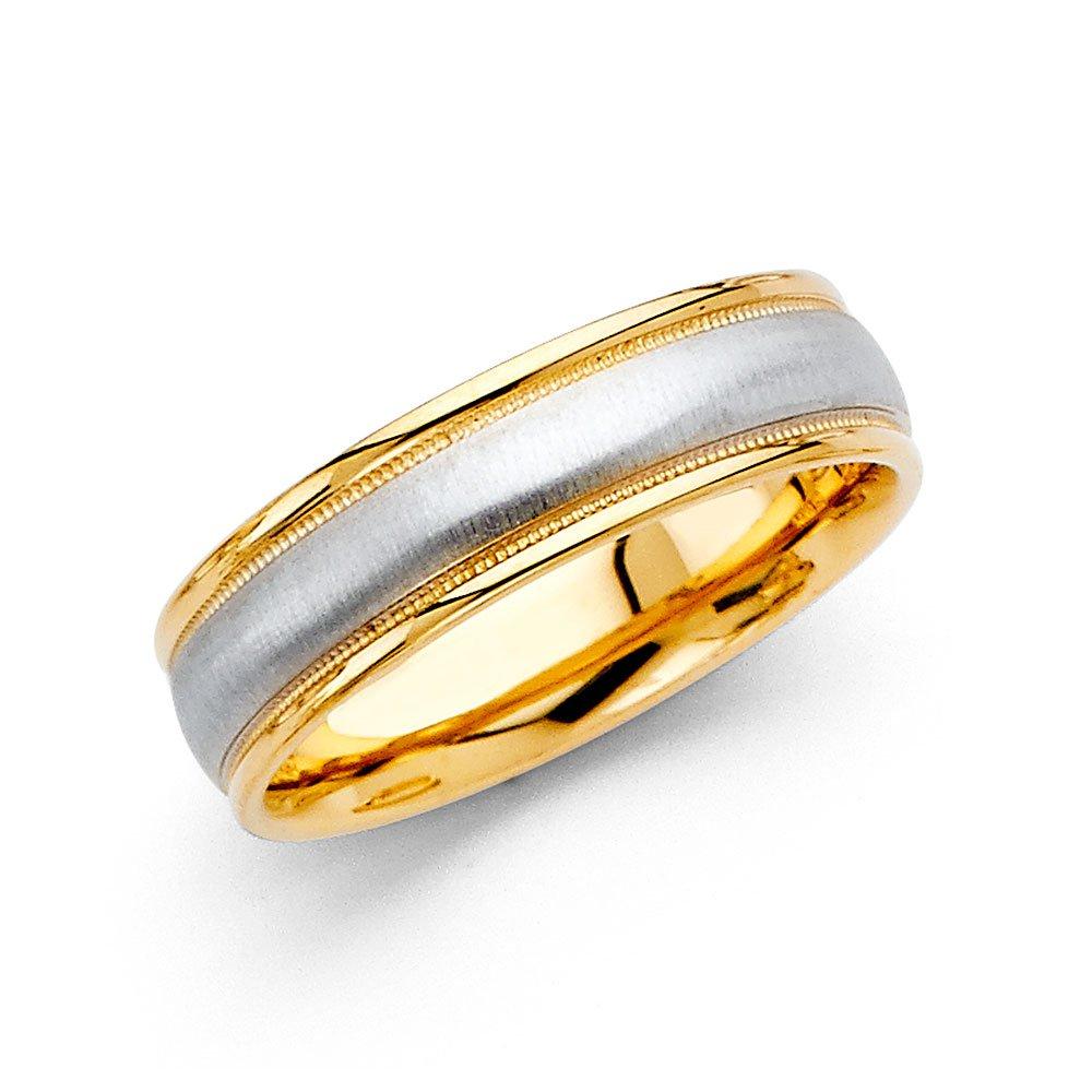 Wedding Milgrain Ring Solid 14k Yellow White Gold Band Dome Satin Finish Two Tone Men Women 6 mm Size 7