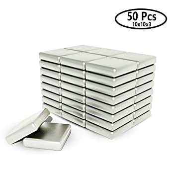 Wukong 50 Pezzi Magnete Neodimio Quadrato,Magnete da Frigorifero Calamita da bacheca Magnete Permanente Magnete per Lavagna interattiva,10x10x3 mm