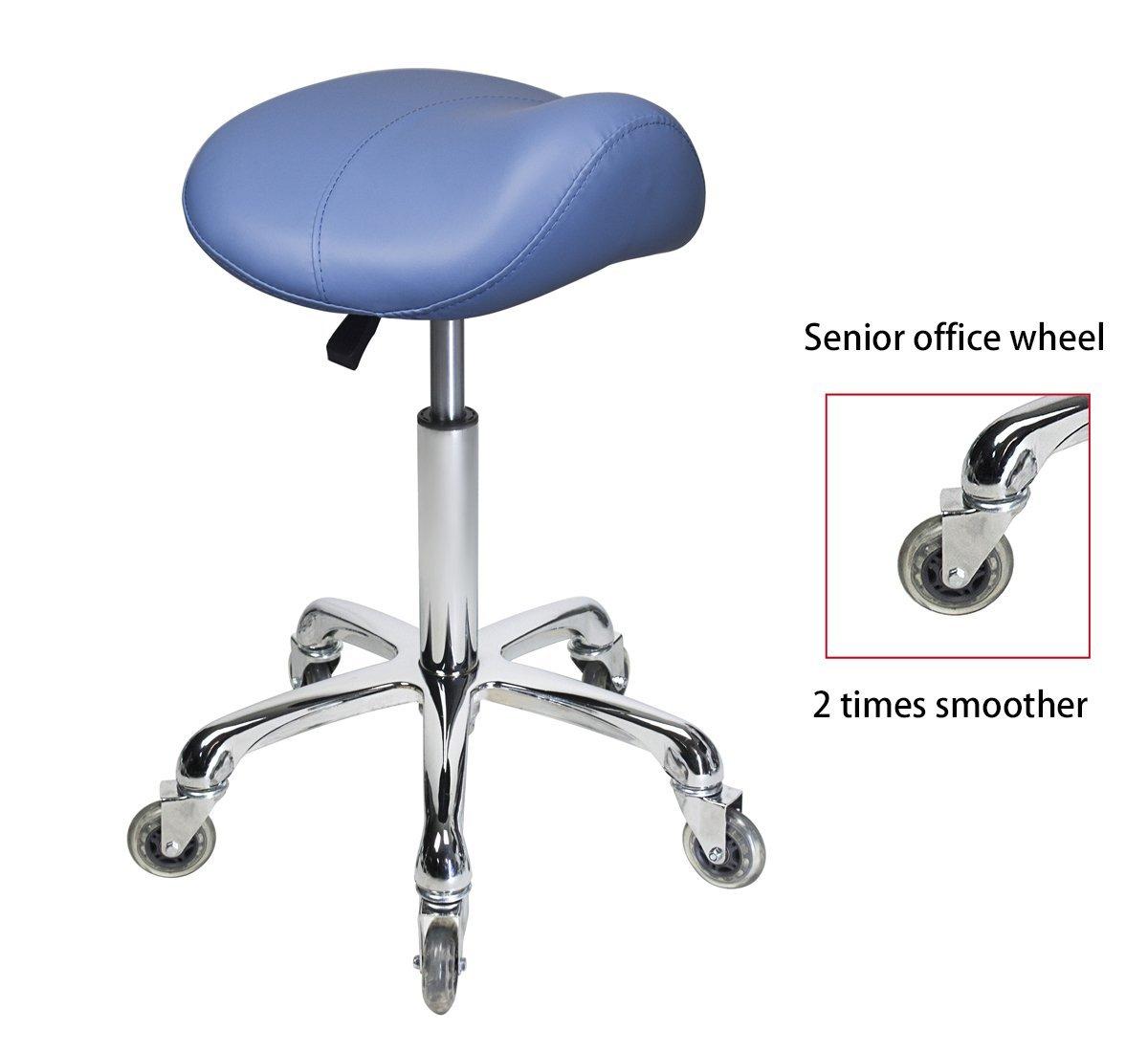 Antlu Saddle Stool Rolling Ergonomic Swivel Chair, for Drafting Massage Clinic Spa Salon,Adjustable Hydraulic with Wheels (Blue) by Antlu (Image #2)