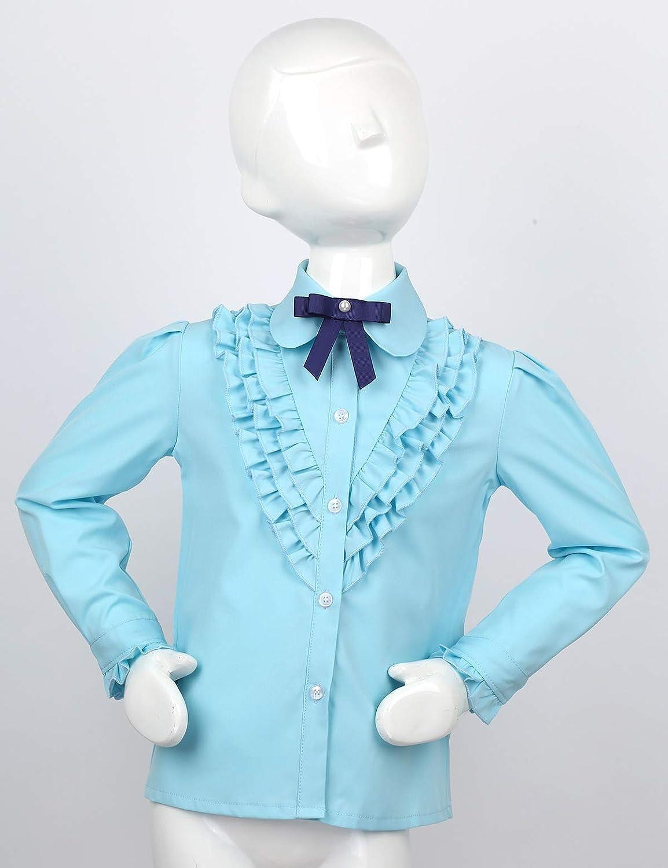 Alvivi Camisa Manga Larga Niña Cuello Volante con Corbata Camisa ...