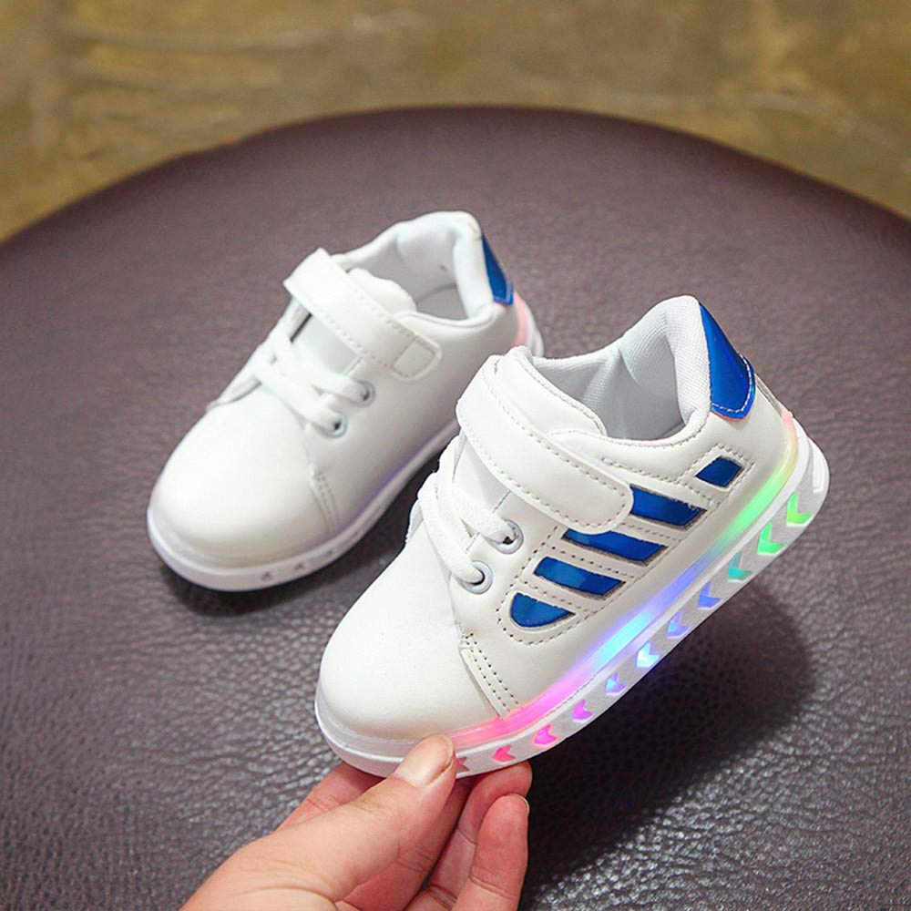 Voberry@ Toddler Baby Girls Boys Luminous LED Light Sports Sneakers PU Leather Casual Shoes