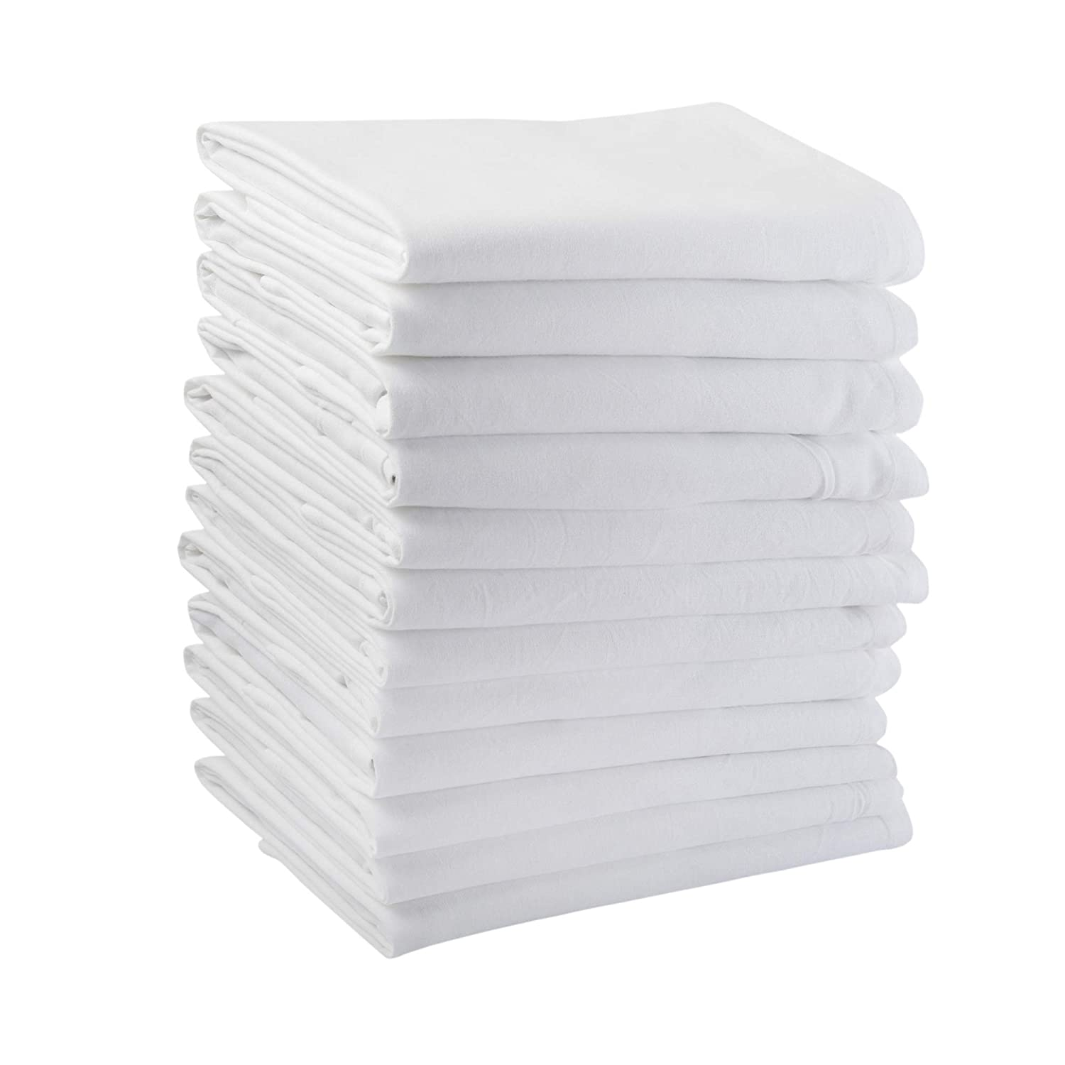 Flour Sack Towels, Set of 12, Multi-Purpose White Kitchen Towels, 100% Cotton, 28 x 28, Very Soft, Highly Absorbent, Tea Towels for Embroidery, Pre Washed to minimize Shrinkage