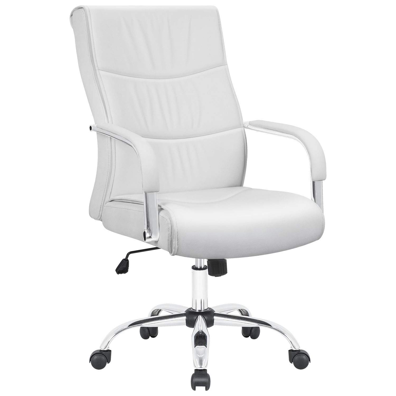 Furmax High Back Office Desk Chair Conference Leather Executive with Padded Armrests,Adjustable Ergonomic Swivel Task Chair with Lumbar Support White