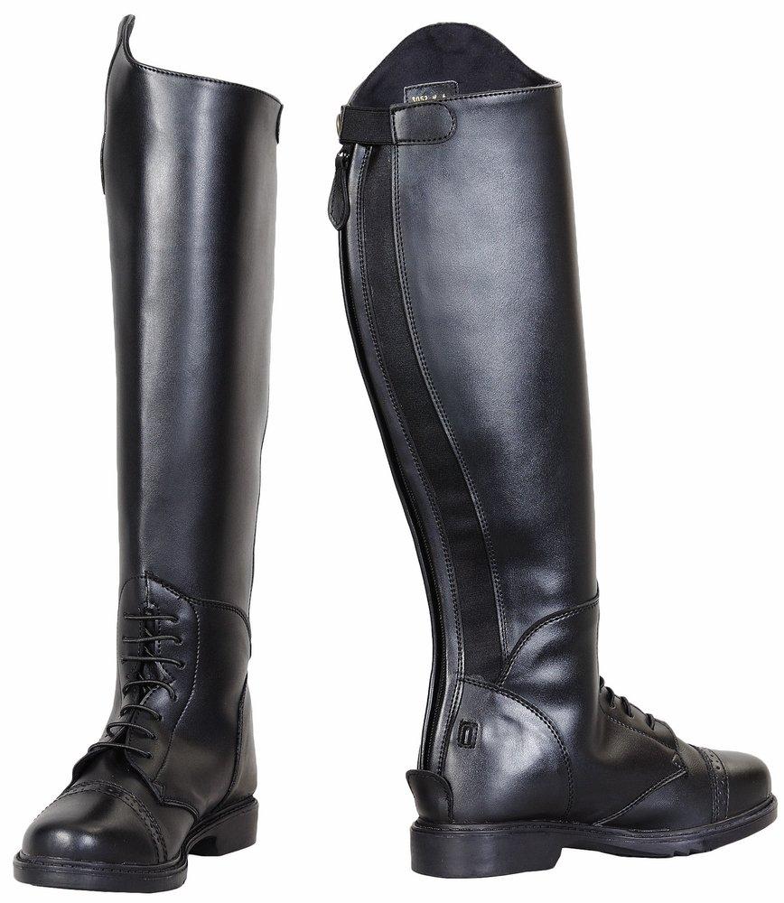 TuffRider Children's Starter Back Zip Field Boots in Synthetic Leather, Black, 4 Slim Regular