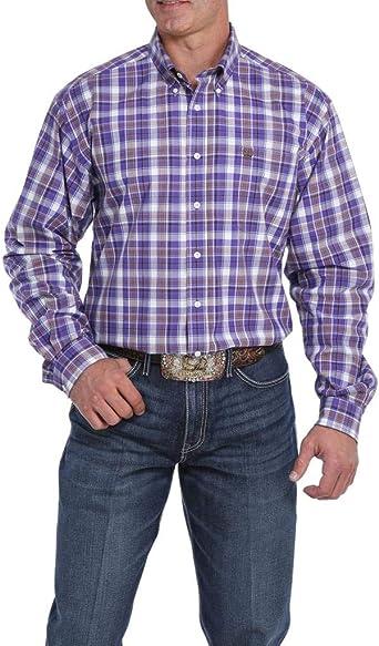 CINCH APPAREL - Camisa de Manga Larga con Botones para Hombre, Color Morado y marrón