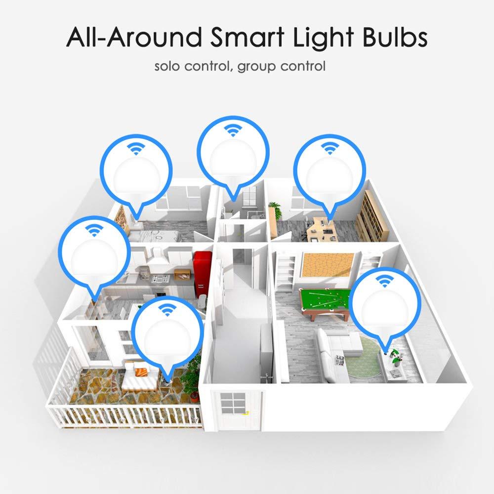 Bombilla inteligente WiFi E14 Bombilla LED Bombillas inteligentes superbrillantes Bombilla wifi regulable de 15 vatios Funciona con  Alexa//Google Home E14 Cool white
