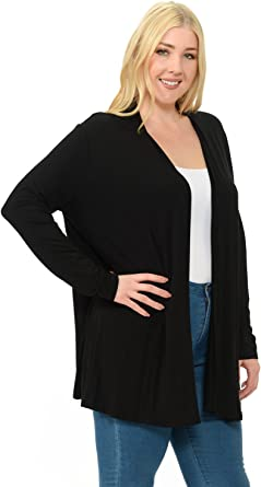 Plus Size Long Sleeve Jersey Cardigan Cement