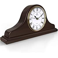 Mantel Clock, Wooden Mantle Clock for Living Room Décor - Silent, Decorative, Solid Wood, Battery Operated Mantle Clock…