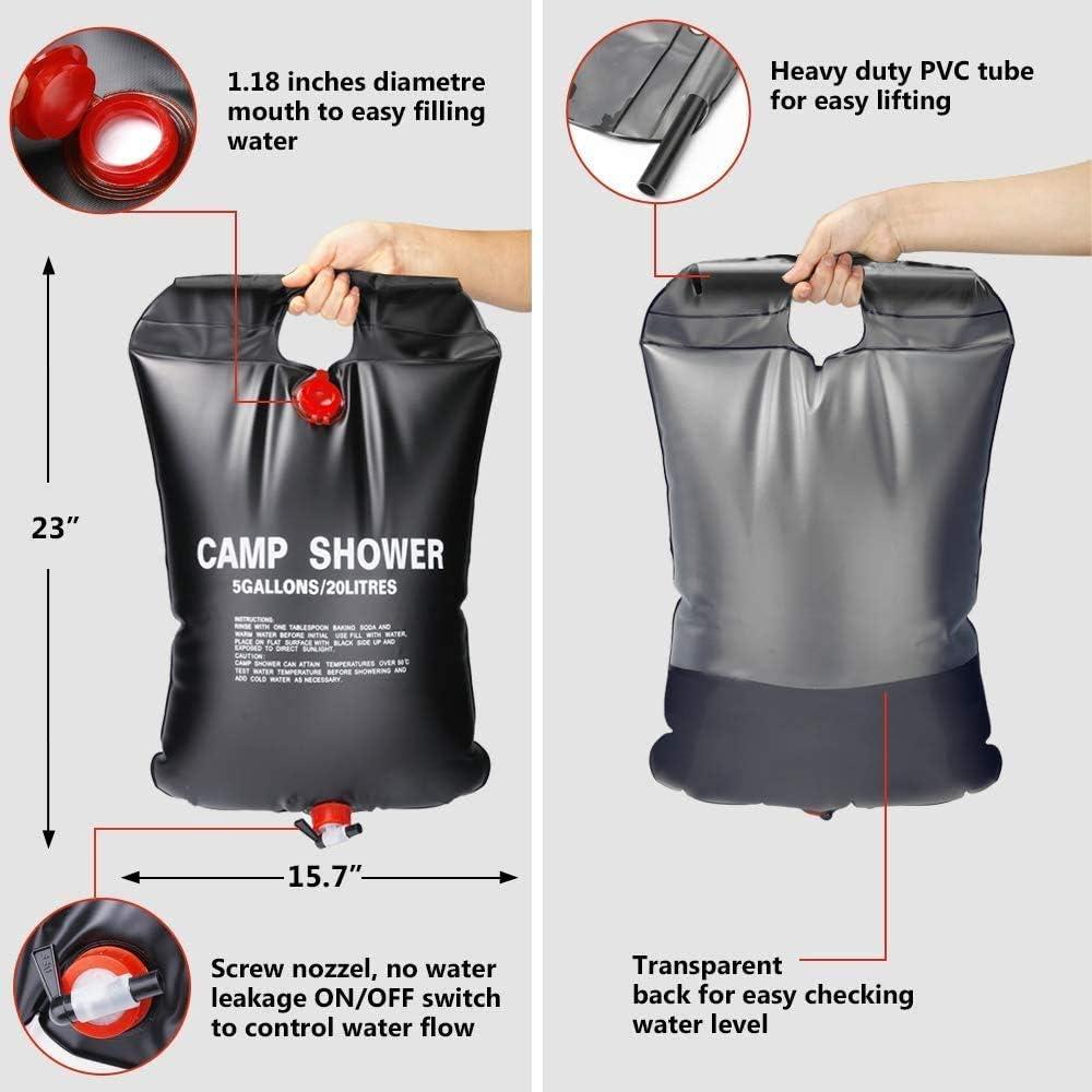 Solardusche Tasche Tragbare Camping Dusche Camping-Wasser-Beutel Reisedusche mit Duschkopf Schlauch PECHTY Solardusche Camping