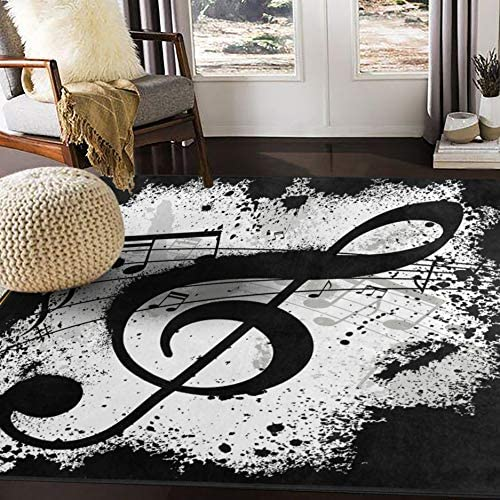 ALAZA Black Music Note Abstract Area Rug Rug