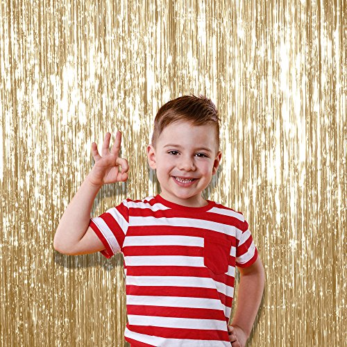 Set Fabric Tassel (Pale Champagne Metallic Tinsel Foil Fringe Curtain Birthday Curtain Party Decoration Backdrop 3 x 8 Feet, Pack of 1 Light Gold Copper Tinsel)