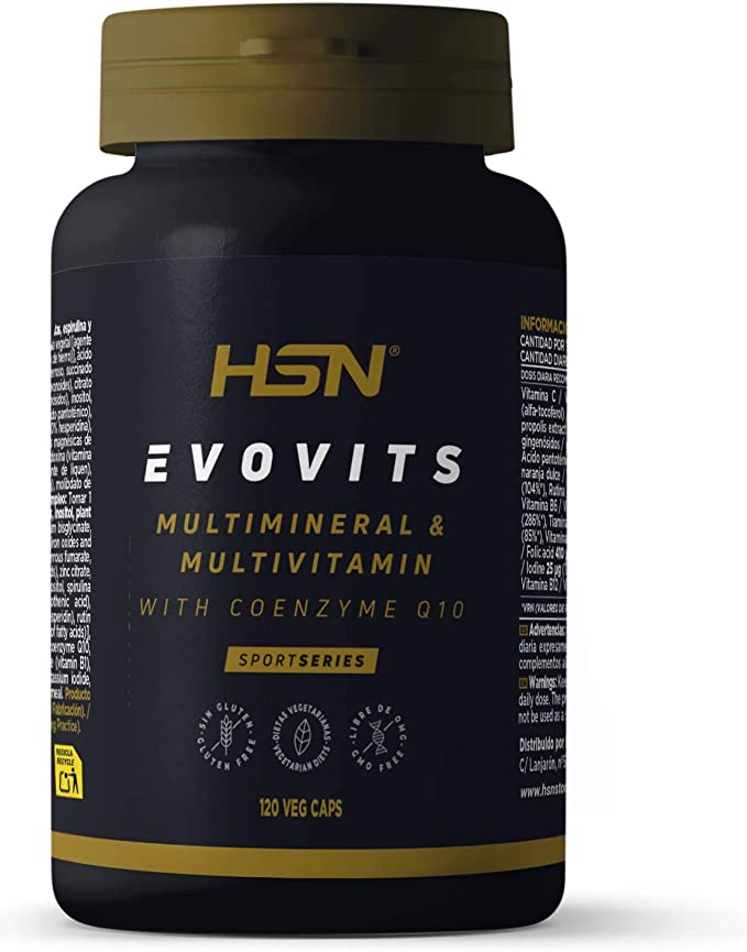 Evovits de HSN | Multivitaminas y Minerales | Complejo Multivitamínico para Mujer + Hombre + Vegetarianos y Deportistas | Vegetariano, Sin Gluten, Sin ...