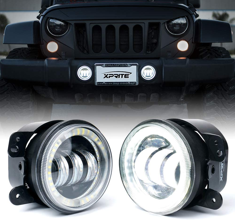 Amazon.com: Xprite 4 Inch 60W CREE LED Fog Lights with White Halo Ring DRL  | Foglights for 07-18 Jeep Wrangler JK Off Road | Front Bumper Replacements Fog  Lamps: AutomotiveAmazon.com