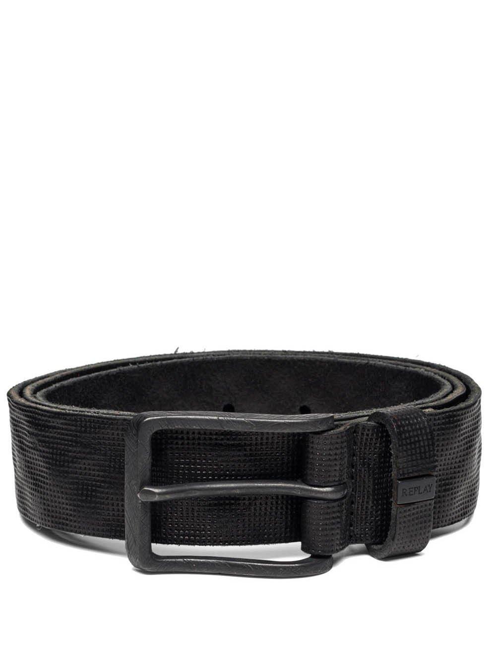 Replay Men's Men's Vintage Leather Black Belt in Size 105 Black