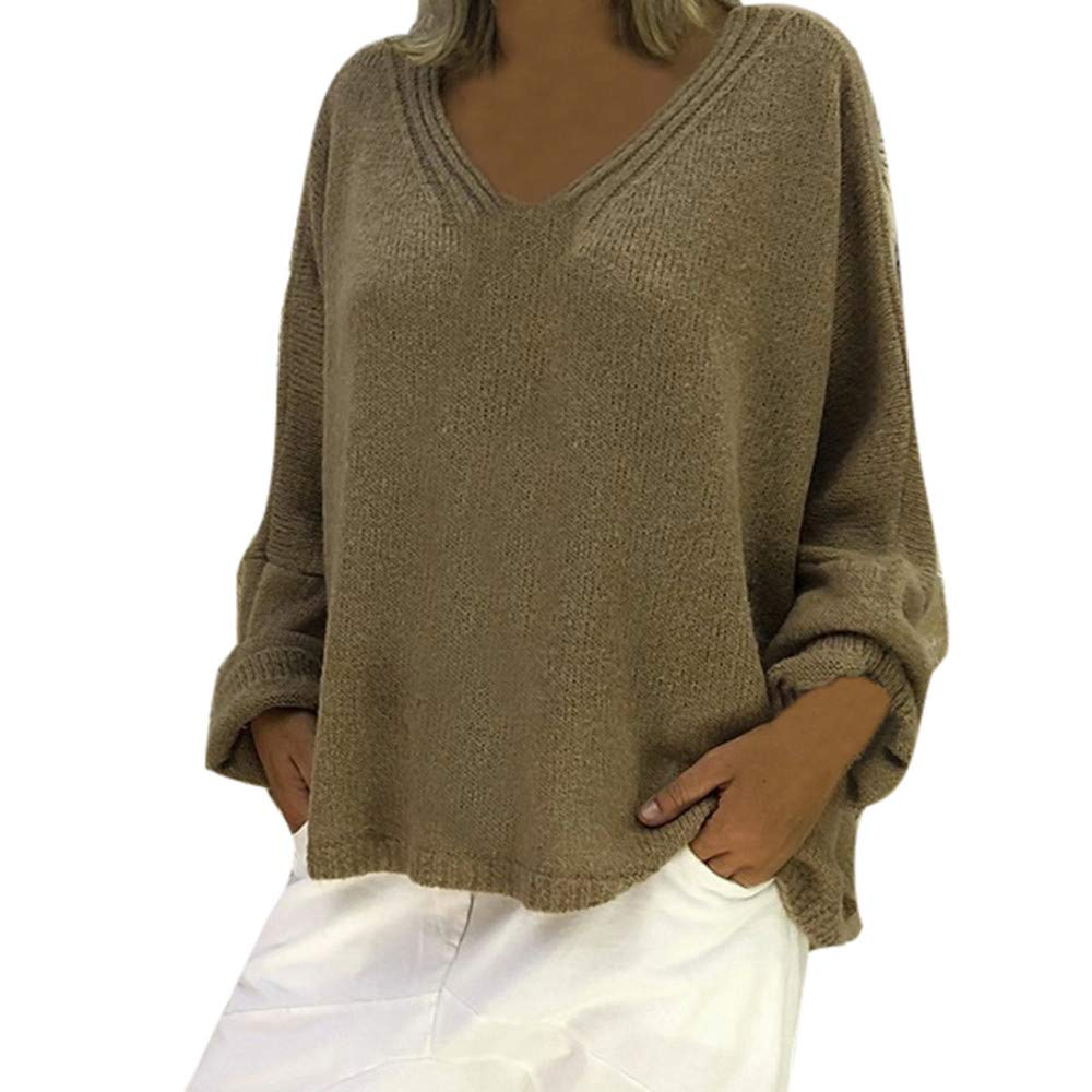 Fudule Sweaters Women Long Sleeve Sweaters V Neck Pullovers Solid Knit Casual Loose Blouse Jumper Tops