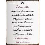IB Laursen Metallschild, Schild - Text: Zuhause ist Wo. - 35 x 26,5 cm