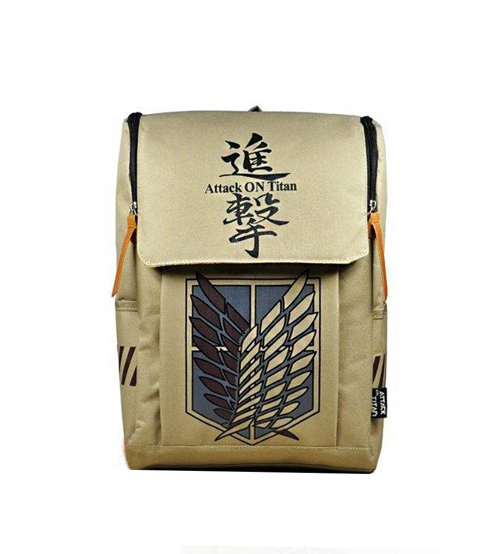 Amazon com large capacity attack on titan backpack canvas rucksack anime book bag laptop bag computers accessories