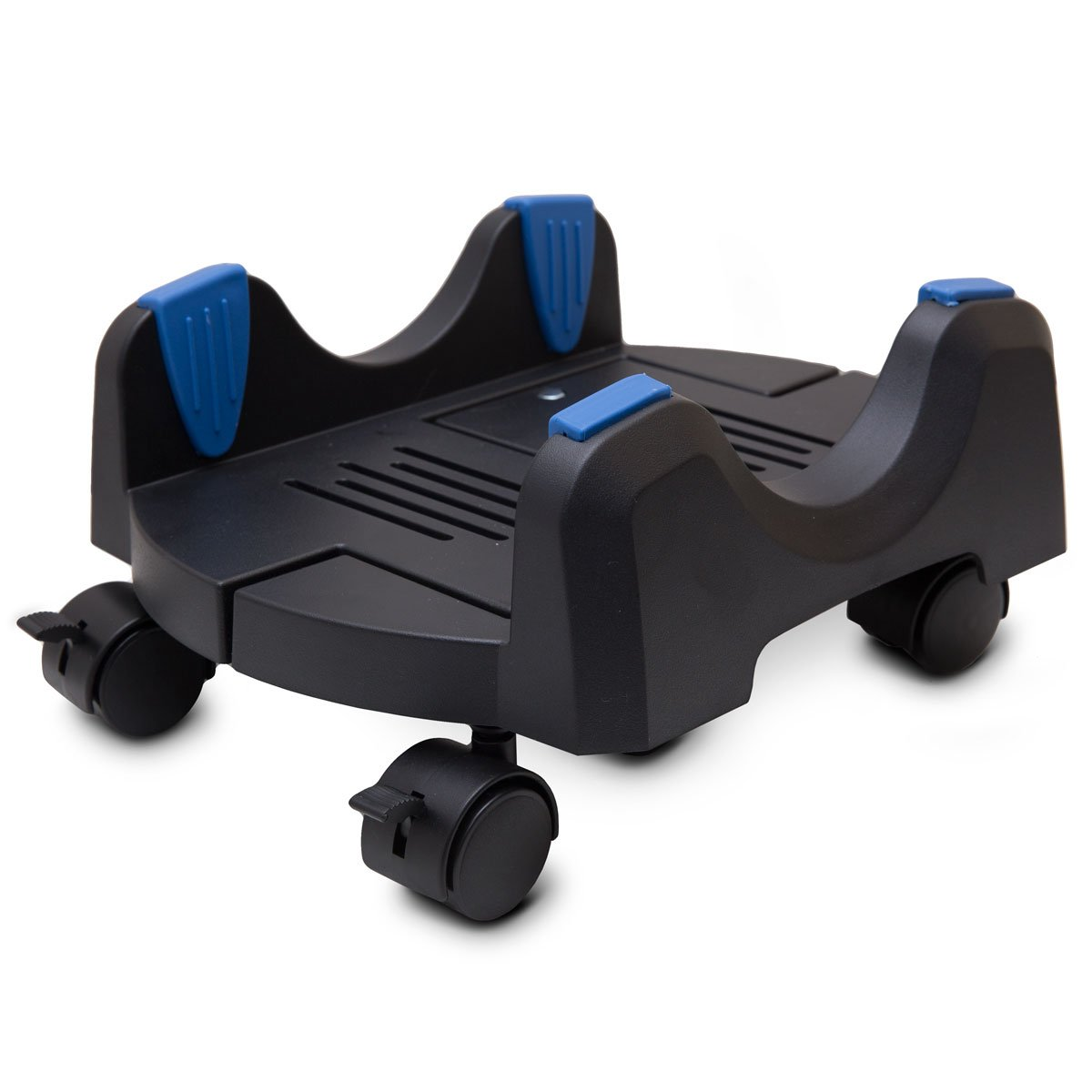 I/O CREST Plastic Computer Floor Stand for ATX Case with Adjustable Width from 6.9'' to 12'' with Locking Caster Wheels