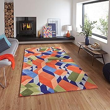 Moderner Designer Wohnzimmer Wolle/Viskose Teppich Adam Pace Orange ...