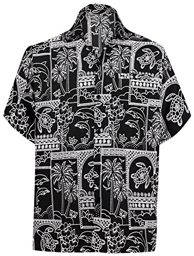 Island Aloha Shirt - LA LEELA Likre Vacation Camp Dress Party Shirt Black 237 XL | Chest 48