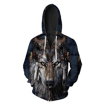 GMYANWY Otoño Nueva Cabeza de Lobo impresión de los Hombres Chaqueta de  Punto suéter con Capucha Marea Cremallera suéter de los Hombres  Amazon.es   Deportes ... 0b82992948ce0