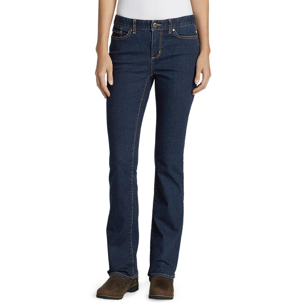Eddie Bauer Womens StayShape Boot Cut Jeans - Slightly Curvy,10 Regular,Deep Rinse (Blue)
