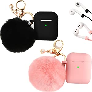 Filoto Case for Airpods, Filoto Airpod Case Cover for Apple Airpods 2&1 Charging Case, Cute AirPods Silicone Soft Case Accessories Keychain/Skin/Pompom/Strap (Pink+Midnight Blue)