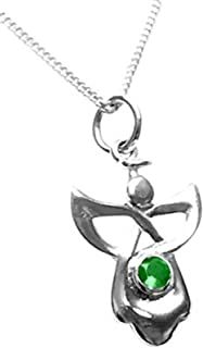 Sterling Silver Celtic Guardian Angel Birthstone Necklace - May