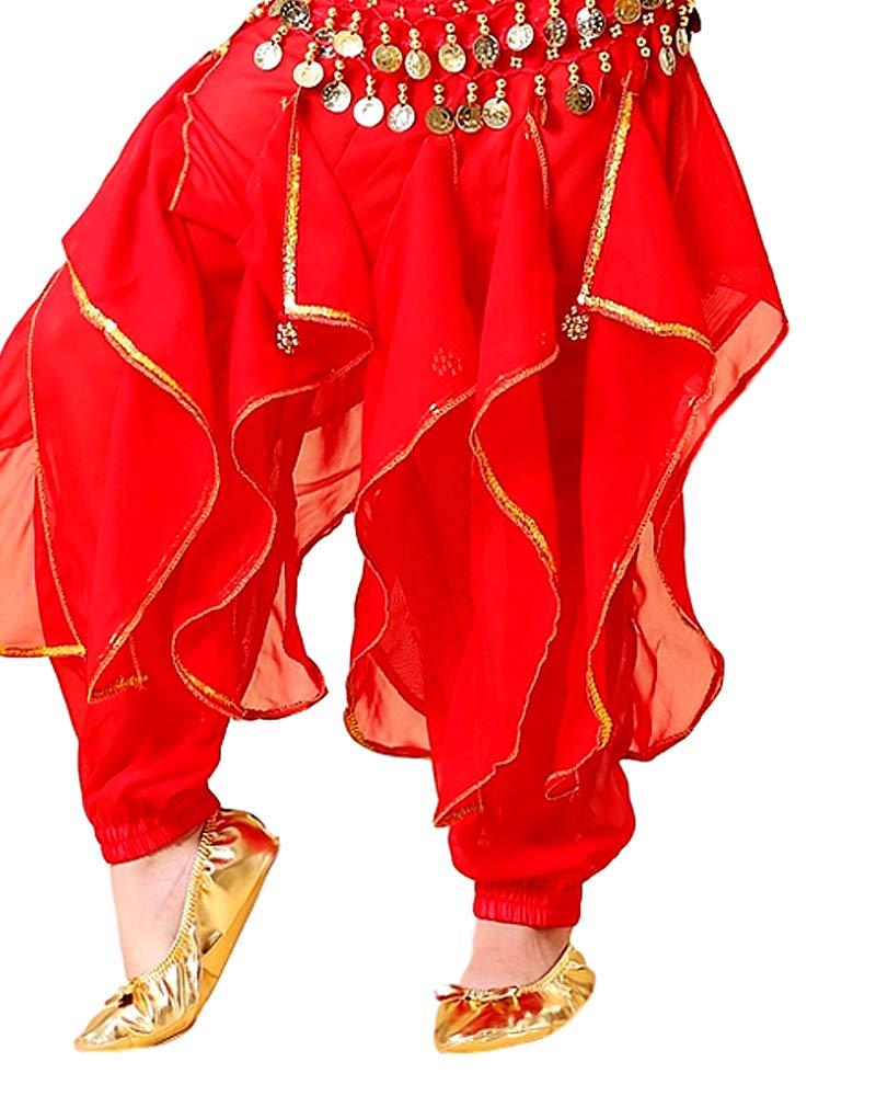 Grouptap Enfants Indiens Bollywood kuchipudi bharatanatyam Princesse Danse du Ventre Bleu//Rouge//Jaune Pantalon Vague 2 pi/èces Costume Costume Enfants Filles