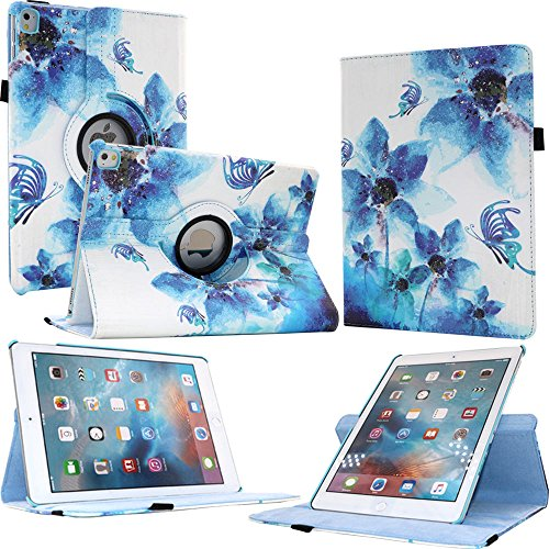 FIII Auto Sleep Wake Feature 360 Degree Rotating Stand Leather Case for iPad Pro 9.7 Inch, Fantastic Flower (Flowers For Wake)