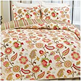 Hedaya Home Fashions Tapestry Rose Reversible Quilt Set, Bright Abstract Floral Pattern, 3-Piece Set with Quilt and Pillow Shams - King, Tapestry Rose
