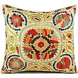 Uzbek Suzani Pillow | vii 16x16 Hand Embroidered Pillow Cover