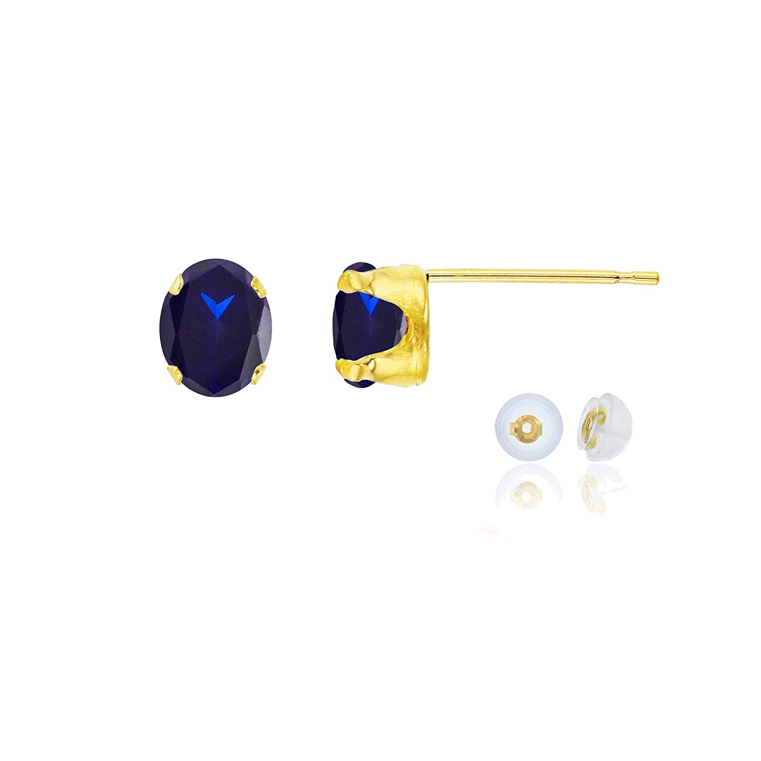 White or Rose Gold 6x4mm Oval Genuine Or Created Gemstone Birthstone Stud Earrings Solid 14K Gold or 14K Gold Plated 925 Sterling Silver Yellow