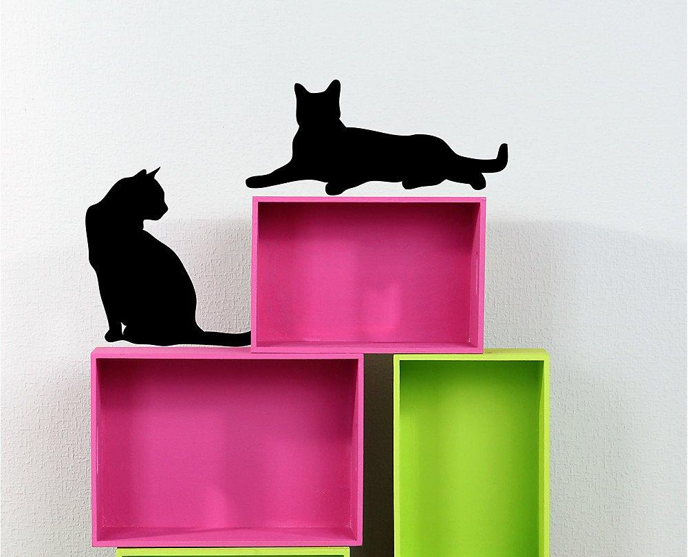 Decoramo - Vinilo Decorativo con Silueta de Gatos para Pared, PVC, Negro, 60 x 0,1 x 25 cm: Amazon.es: Hogar