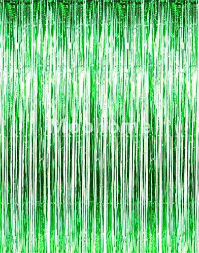 Moohome Big 3ft x 8ft Tinsel Metallic Green Foil Fringe Curtains Backdrop Door Window Curtain Party Decoration (2-Pack, (Mylar Fringe)