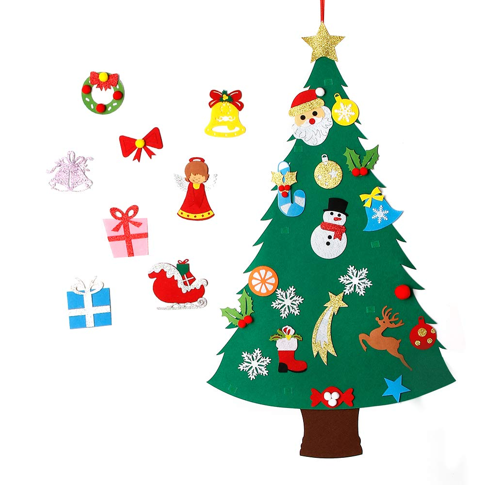 MeeQee 3ft DIY Felt Christmas Tree Set + 28pcs Glitter Coated Ornaments, Wall Hanging Xmas Gifts Kids Christmas Decorations