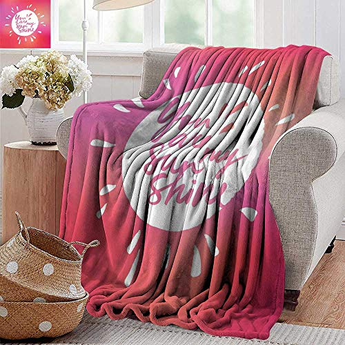 PearlRolan Outdoor Blanket,Quote,Vibrant Color Sunshine Form with Blury Handwritten Saying You and Me Graphic Image,Maroon White,Super Soft Faux Fur Plush Decorative Blanket -