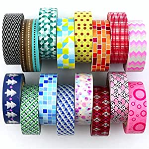 Washi Tape Set ( Exclusive set of 16 ) - New 2017 Designs - Decorative Washi Tape Set With Colorful Designs and Patterns By DIY Crew