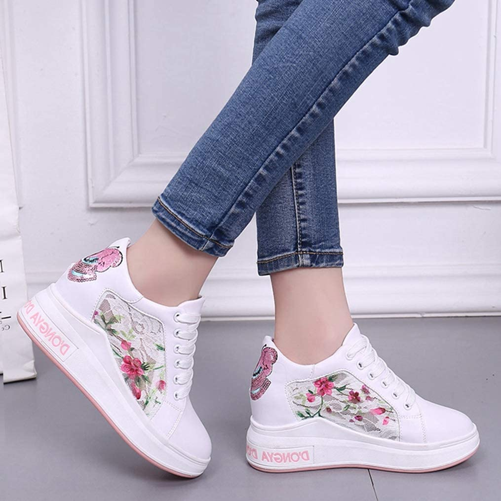 Yakoya Ladies Spring Wedge Shoes Platform Embroidered Sweet Casual Thick Bottom Sneakers Shoes Women White